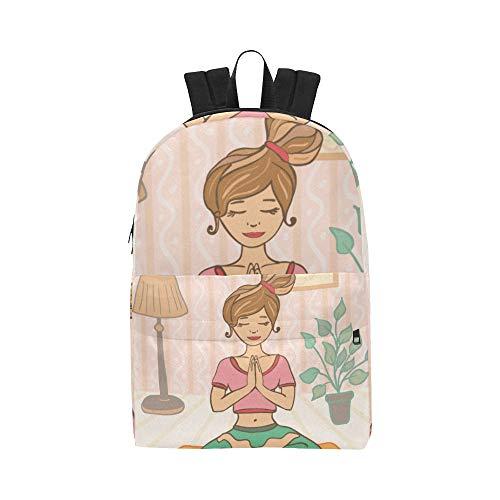 Yoga Cartoon Gesundes Mädchen Klassische Nette Wasserdichte Laptop Daypack Taschen Schule College Kausal Rucksäcke Rucksäcke Bookbag Für Kinder Frauen Und Männer Reisen Mit Reißverschluss