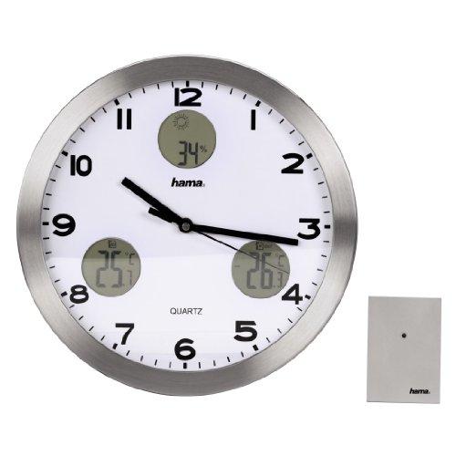 Hama Wetterstation AG-300 (Wanduhr mit Thermometer, Hygrometer und Außensensor) silber