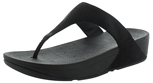 FitFlop™ Shimmy Wildleder Womens Zehe Post Sandalen Black Glimmer Suede