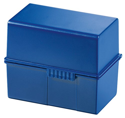 HAN Karteikartenbox DIN A7 977-14 in Blau für 300 Karteikarten im Querformat / Aufbewahrungsbox aus Plastik mit Deckel & Stahlscharnier / Für Schule & Büro