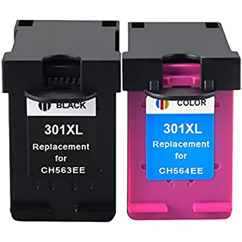 Bosumon 1 Set Compatible 301XL de HP 301 XL negro y color cartucho de tinta (la última V1 chip) Compatible para HP Deskjet 1000, 1010, 1050, 1055, 1510, 1512, 1514, 2000, 2050, 2054a, 2510, 2514, 2540, 2542, 2544, 3000, 3050, 3050se, 3052 A, 3054a, 3055, 3059a, HP Officejet 2620, 2622, 2624, 4630, 4632, 4634, 4636, HP Envy 4500, 4502, 4504, 4505, 4507, 5530, 5532, 5534, 5539 e All-in-One, color