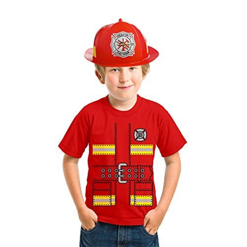 Faschings Feuerwehrmann Kinder Kostüm - T-Shirt + Roter Feuerwehr Helm Shirt Rot XS 140/152 (9-11J) / Helm OS - Helm Kinder T-shirt