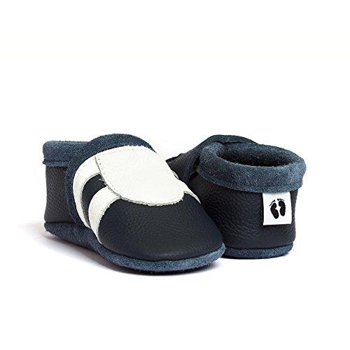 little foot company®, handgemachte Markenqualität aus Deutschland, weiches Komfortleder, Krabbelschuhe, Babypuschen in marineblau