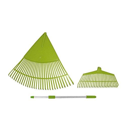 Laubbesen-Set 3 teilig aus Kunststoff - bestehend aus Riesenrechen, Laub-Besen und Teleskopstiel - das ideale gartenwerkzeug für jeden Hobbygärtner
