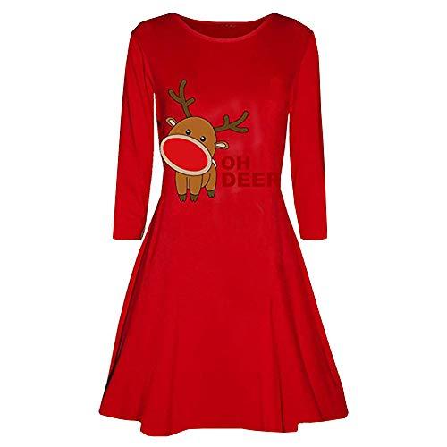 VEMOW 2018 Elegante Damen Abendkleid Weihnachtsfeier Cocktailkleid Kleid Gedruckt Langarm Abend Abschlussball Kostüm Täglichen Schaukel Kleid(X2-Rot, EU-42/CN-XL)