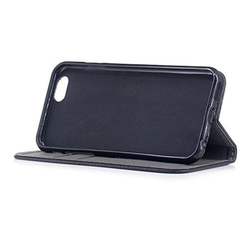 """Coque pour Apple iPhone 6 / 6S , IJIA Élégant Rosé PU + TPU Doux Silicone Slot Magnetic Flip Cuir ID Credit Card fonction Case Cover Housse Protection Etui pour Apple iPhone 6 / iPhone 6S (4.7"""") Black"""