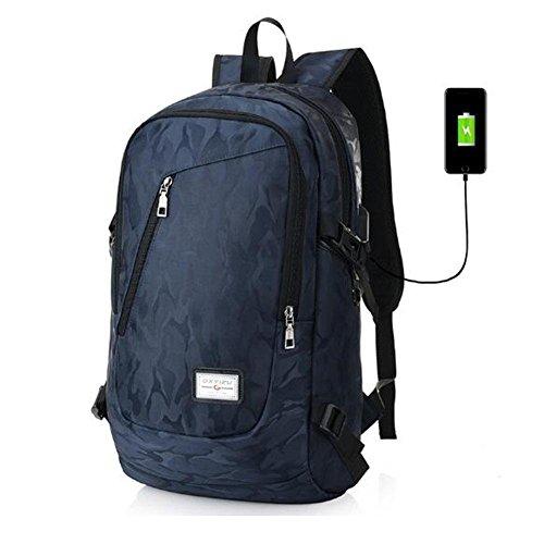 Rucksack Camouflage Stil Tourismus Mode USB Multifunktions Freizeit Outdoor Rucksack dark blue