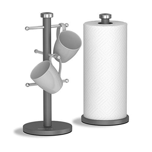 Morphy Richards Accents Tassenbaum und Küchenrollenhalter, Edelstahl, 6er-Set, Edelstahl, Titan, 15 x 15 x 34.5 cm