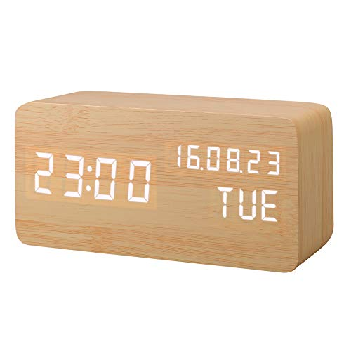 Despertador Digital, Leeron Reloj Digital Madera 3