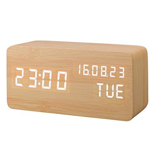 Réveil LED en Bois Artificiel, Horloge Numérique Activation Sonore Avec Température /Calendrier/ Luminosité USB...