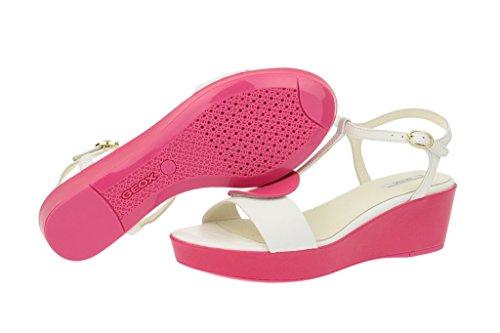 Geox  Geox Nouvelle - Damen Sandalette - weiß pink, Sandales pour femme Blanc - Blanc