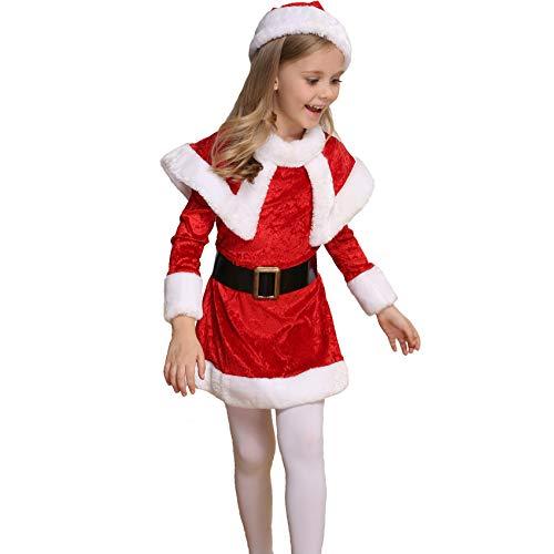 QIAOY Weihnachten Baby Mädchen Mantel Mit Niedlichen Hut Kind Neujahr Kinder Baby Elch Cosplay Kostüm Geburtstagsfeier Mädchen Kleid Hoodies,Red-Height:120-130CM