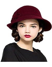 HaiDean Gorras Sombrero De Campana Invierno Señoras Flores De De Modernas  Casual Otoño Sombreros De La Iglesia Sombreros Estilo Moderno… 90acde163c1