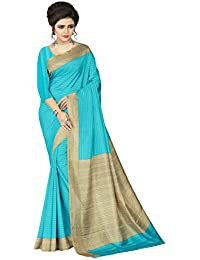 E-VASTRAM Womens Crepe Printed Art Silk Saree(V3101_Blue)