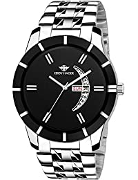 EDDY HAGER Analogue Men's Watch (Black Dial Silver Colored Strap)