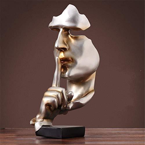 HAOLY Harz-Schweigen ist Gold Menschen statuen skulpturen,Kreativen Handwerk Home büro Dekoration Kunst Ornamente Denker statuen Vintage deko Figur skulpturen-C 17x17x35cm(7x7x14inch) - Kunst Skulptur