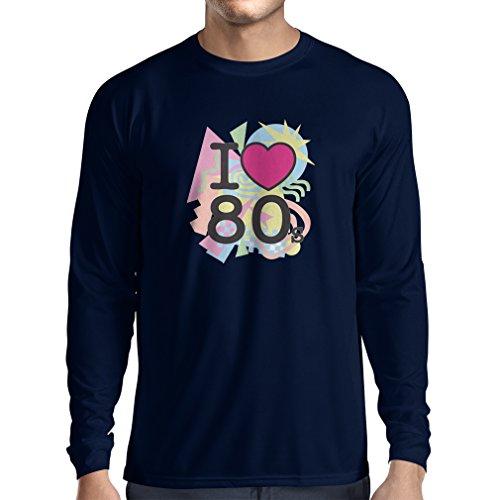 T-Shirt mit langen Ärmeln Ich liebe 80er Konzert t-shirts Weinlese Kleidungs Musik t-shirts geschenke (X-Large Blau Mehrfarben)