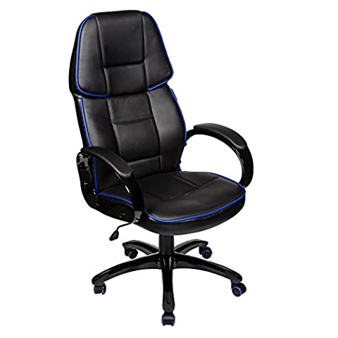 Cherry Tree Furniture High Back Black PU Leather Executive Office Chair with Blue Pipeline Border