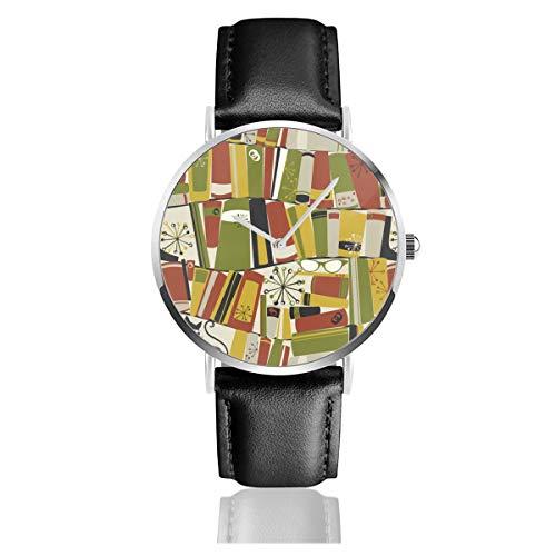 Armbanduhr, Quarzuhr auf Bücherregal, legere Uhren für Männer und Frauen mit schwarzem Leder -