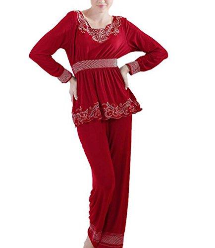 Marcus R Caveggf Damen Damen Pyjama Set Lounge Wear Warm Soft Thermal Mit Geschenk Bestickt Lange äRmel Hosen, XL