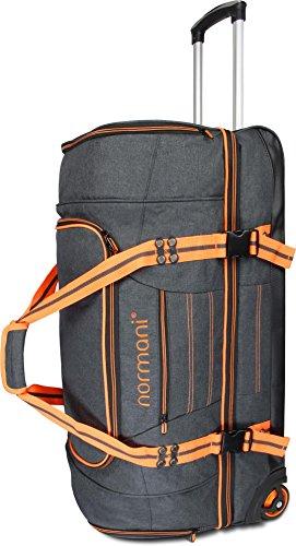 normani® Reisetasche mit Rollen 90 Liter Volumen mit verschiedenen Fächern Farbe Orange