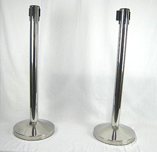 Preisvergleich Produktbild 2x Absperrpfosten Absperrständer Silber mit Gurt - Band Personenleitsystem Abgrenzungsständer