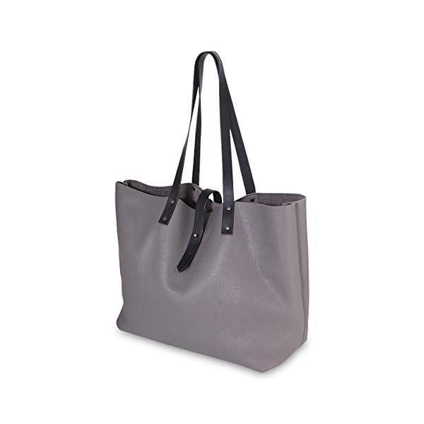 GREY ITALIAN LEATHER TOTE BAG - handmade-bags