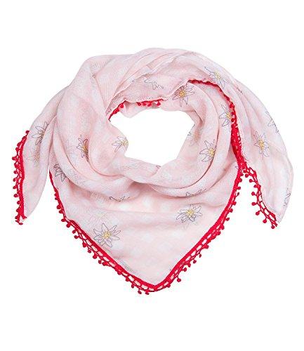 SIX Oktoberfest rosa/weiß kariertes Tuch, Schal mit kleinen Edelweiß Blumen und roter Spitzenborte mit Bommeln (705-311)