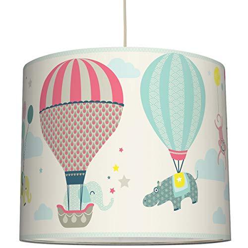 anna wand Hängelampe HOT AIR BALLOONS TAUPE/BLAU/KORALLE - Lampenschirm für Kinder/Baby Lampe mit Heißluftballons - Sanftes Kinderzimmer Licht Mädchen & Junge - ø 40 x 34 cm -