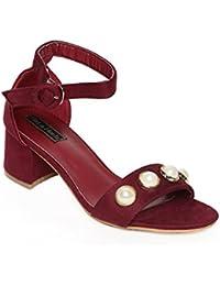 Flat N Heels Womens Maroon Sandals