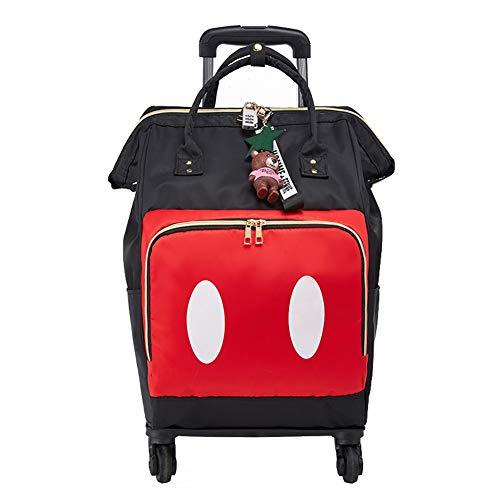 Zaino rotante per adulti rimovibile, zaino modello di stampa con trolley Schoolbag 4 ruote impermeabili da viaggio per adulti in nylon per adulti-A