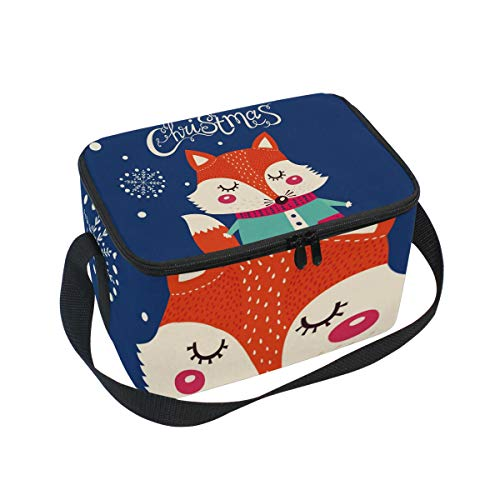 SKYDA Lunchpaket Box Insulated Lunchpaket Bag Large Cooler Christmas Fox Tote Bag for Men, Women, Girls, Boys