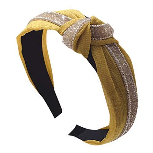 TMOTYE Damen Haarband Sommer,❀Frauen SchöNer Haarbänder Lace Mesh-Garn mit Diamant-Super-Flash-Knoten knotet breites Stirnband - Lace Mesh Band
