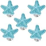 FBSHOP(TM) 5pcs 34 mm Neu BlauKreative Schöne Starfish Form Keramik Möbelgriffe Möbelknauf Möbelknopf Tür der Schublade,Schrank, Kleiderschrank,Schlafzimmer-Kinder TürKnopf Schrauben Set