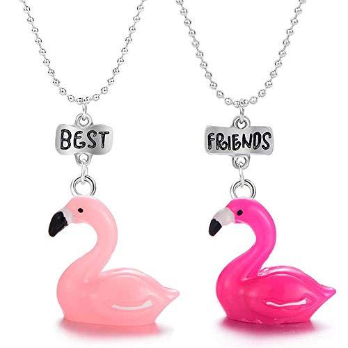 MJARTORIA Damen Mädchen Jungen Halskette Silber Farbe Essen Regenbogen Eule Schmuck Anhänger mit Gravur Freundschaftsketten 2 Stück (Flamingo)