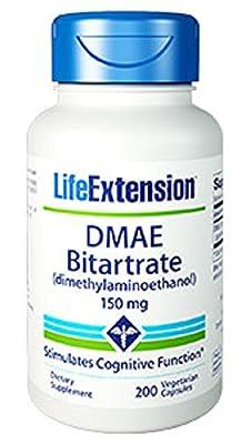 Life Extension DMAE Bitartrate ((dimethylaminoethanol), 150mg, 200 Vegetarian Capsules)