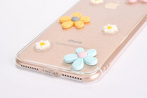 EUWLY Custodia per iPhone 7/iPhone 8 (4.7), EUWLY Clear Bello Cover Gomma TPU Custodia Protettiva Soft Silicone Case Anti-Graffio Protettivo Custodia Antiscivolo Protettiva Shell Case Cover Per iPhon Fiore