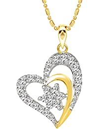 Sukai Jewels Star Heart Gold Plated Alloy Cz American Diamond Studded Pendant With Chain For Women & Girls [SP160G]
