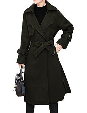 La Mujer Invierno Sólido Frente Abierto Con Solapa Abrigo De Lana, Prendas Sueltas
