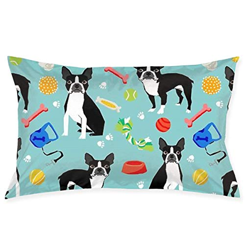 Throw Pillow Cases Boston Terrier Toys Dog Pillow Case Sofa Car Waist Throw Cushion Cover Home Decor Decorative Polyester and Linen Throw Pillow Case Cushion Cover 18x30 Inch -