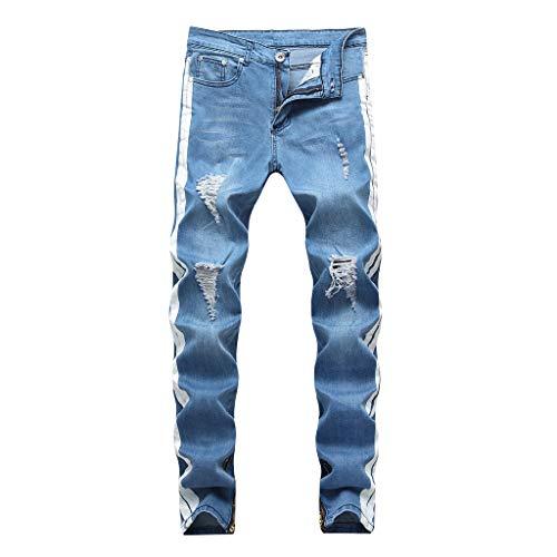 MOTOCO Herren Casual Jeans Broken Patchwork Slim Pants Mode Baumwolle Reißverschlusstasche Bleistift Hose(XS,Blau) Corduroy Cropped Pants