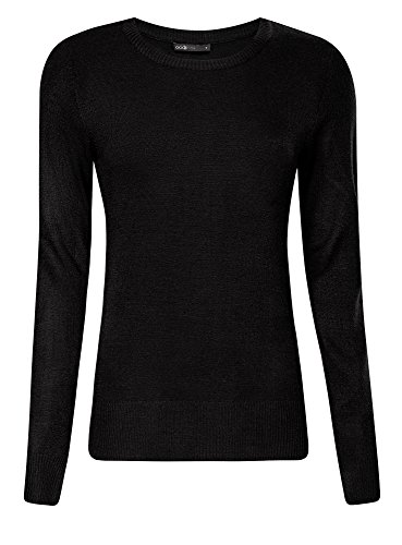 oodji Ultra Donna Maglione Basic in Filato Morbido, Nero, IT