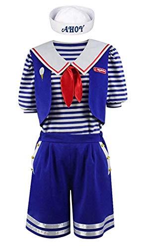 Blue Und M Kostüm M - Qian Qian Stranger Steve Robin Halloween Kostüm Blue Sailor Anzug für Herren und Damen (M, Männer-Stil)