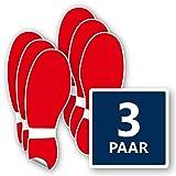 3x Paar Bodenmarkierung Fuß Aufkleber in rot – kratzfest, selbstklebend & rutschfest - Bodenaufkleber Fußspur je 120x320 mm