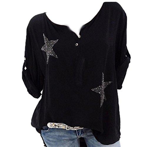 Hmeng Sommer Tops Shirts, Frauen beiläufige Lose T-Shirt Plus Größe Langarm Bluse Baumwolle Leinen Tops Tee (Schwarz, 3XL) (Junior Kleidung Bluse)