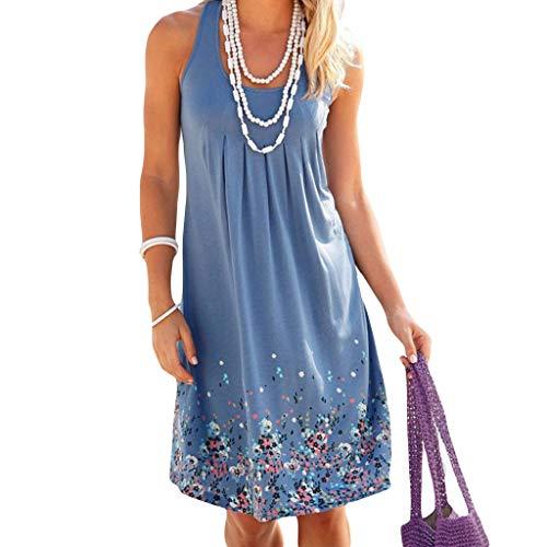 Fahou Womens Sleeveless Vintage Farbige Floral Tank Kleid Low Cut Hals Plissee Reich Taille Midi Schlank Abend Party Strand Sommerkleid -