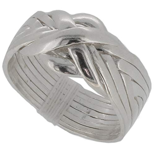 8 reihiger Ring Puzzle Muster aus Sterling Silber - Q