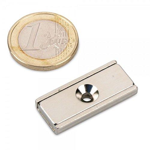 Neodym Flachleiste 30 x 13 x 5 mm mit Bohrung und Senkung - 9 kg Leistenmagnet schraubbar länglich sehr stark Werkstattmaget U-Profil Haltemagnet