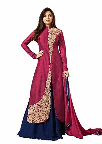 VIHA Pink Banglore Silk Embroidered Anarkali Salwar kameez