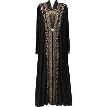 Lejorce Vestido de línea Afelpado árabe del conservadurismo árabe del tamaño Extra Grande de Las Mujeres